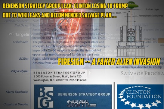 benenson-strategy-group-leak-clinton-losing-to-trump-due-to-wikileaks-and-recommended-salvage-project-firesign-a-faked-alien-invasion