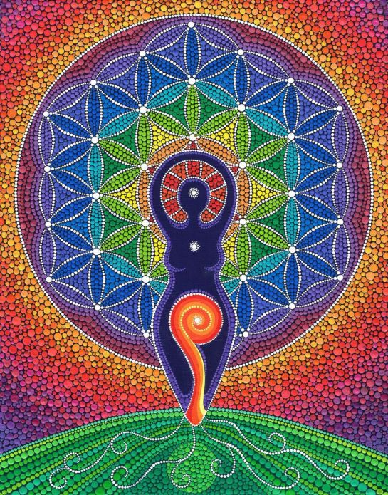 Moon and Spiral Goddess Flower Of Life
